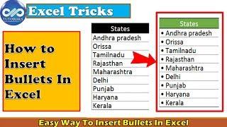 Excel Tricks : Easy Ways To Insert Bullets In Excel | Insert bullet points | Excel Tips |dptutorials