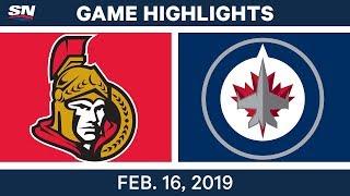 NHL Highlights | Senators vs. Jets - Feb 16, 2019