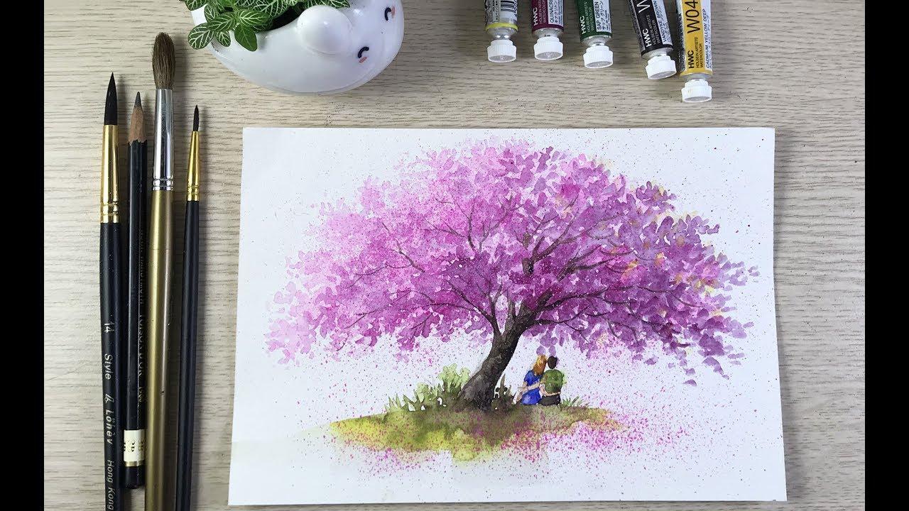 Hướng dẫn cách vẽ 1 chiếc cây hoa anh đào bằng màu nước