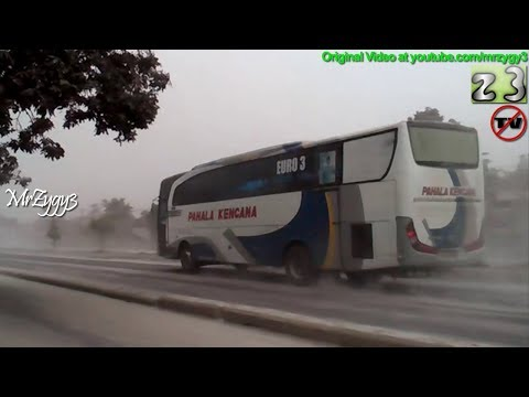 Buses Crossing Vulcanic Ash From Kelud Volcano Eruption
