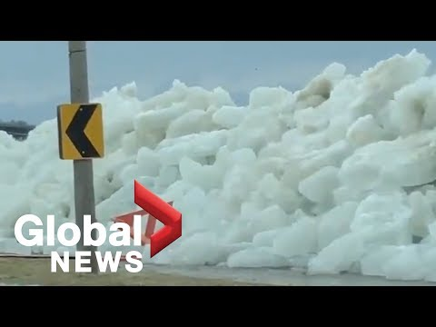Vicious wind storm blows wall of ice onto Lake Erie shoreline