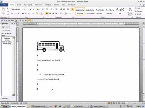 Office 2010 Class #04: Introduction To Word, Ribbons, QAT, Non-Printing Characters, Clipboard & More