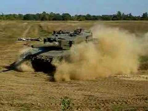 Leopard 2 A4 Panzer Tank Crushes 2 Cars