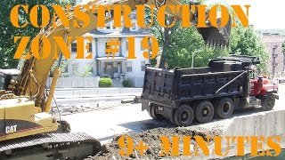 Dump Trucks for Children - Construction Zone 19 - Digger and Dump truck