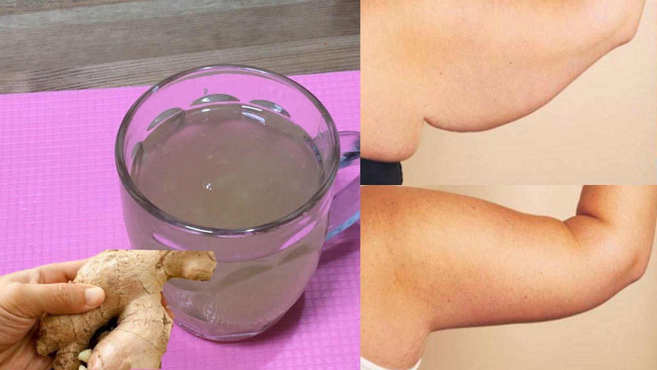 Pierda la grasa del brazo en una SEMANA con agua de jengibre / Deshágase de los brazos flácidos