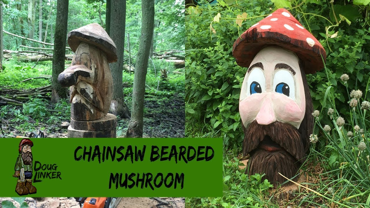 Chainsaw carving the giant bearded mushroom carving and coffee