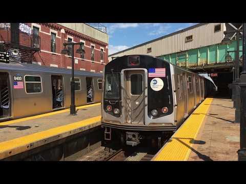 BMT Jamaica Line: (J) Exp and (M) Lcl Trains @ Myrtle Avenue (R32, R42, R143, R160A-1, R179)