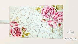 decoupage shabby chic with 2 step crackle varnish DIY ideas decorations craft tutorial / URADI SAM