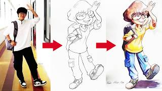 Drawing Cartoon Character by Comic Media Academy student