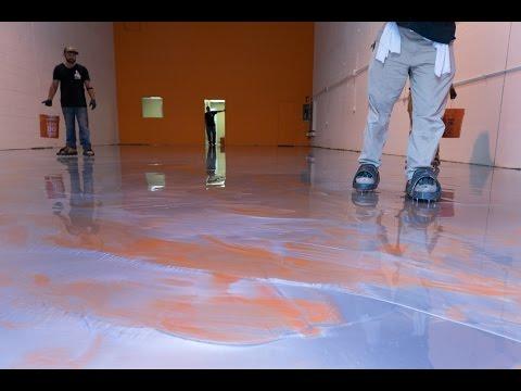 DIY Metallic Epoxy Floor Application (Orange & Silver)