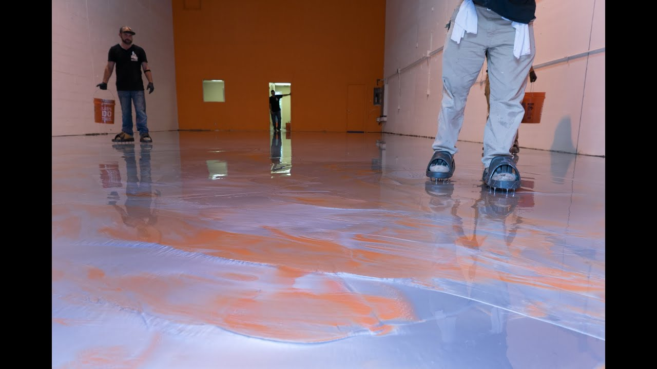 diy metallic epoxy floor application (orange & silver) - youtube