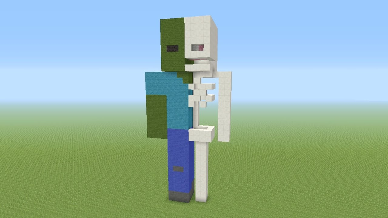 Minecraft tutorial how to build a zombie anatomy statue for Zombie build