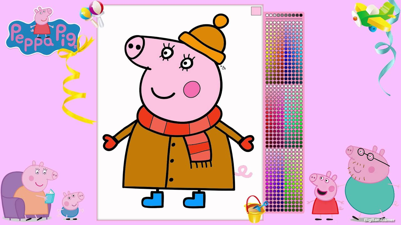 peppa pig mummy coloring pages youtube