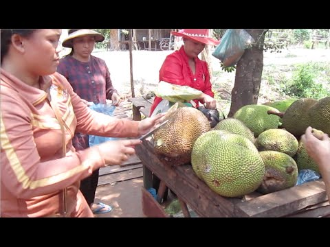 Jackfruits selling on the way to Sihanoukville