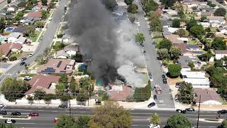 Drone video of a house on fire