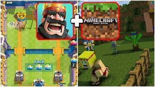 CLASH ROYALE NO MINECRAFT PE !! ARENA REAL COM CARTAS QUE FUNCIONAM !!