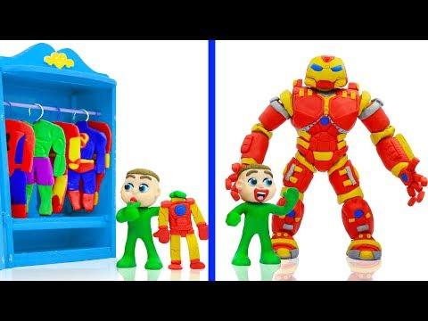 BABY MEETS SUPERHERO IRON HULKBUSTER 馃挅 Cartoons Play Doh Stop Motion