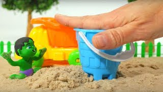 BABY HULK PLAYS WITH SAND ❤ Frozen Elsa & Superhero Babies Play Doh Cartoons For Kids thumbnail