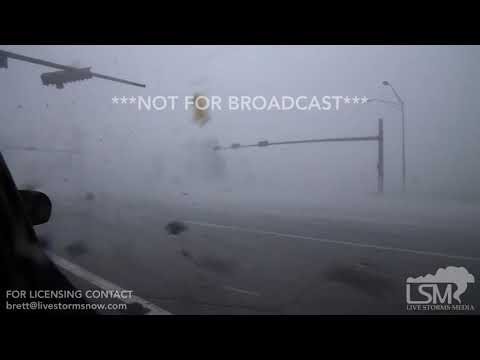10-10-18 Tyndal AFB, FL - Intense winds and lots of airborn debris in Hurricane Michael's eyewall