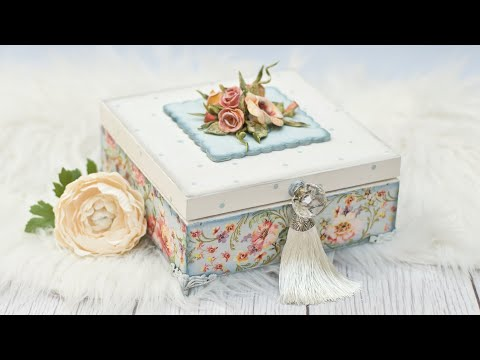 Decoupage box with 3D roses tutorial - DIY by Catherine