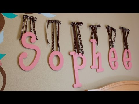 How to Hang Wooden Letters with Ribbon