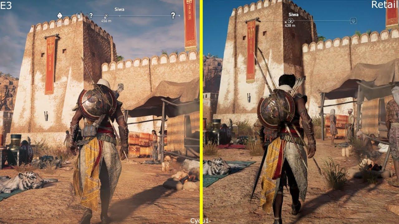 Assassin S Creed Origins E3 2017 Demo Vs Retail Ps4 Pro Graphics