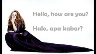 ADELE - Hello Lyrics (Eglish + Indonesia Lirik)