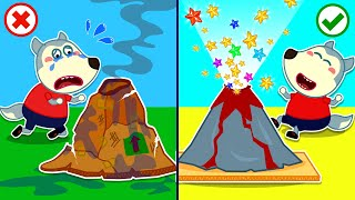 Boom Boom! Volcanic Eruptions - Baby Wolf Makes DIY Volcano | Wolfoo Channel