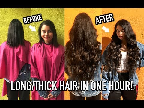 HOW TO GET LONG HAIR IN A HOUR ! (HAIR TRANSFORMATION)