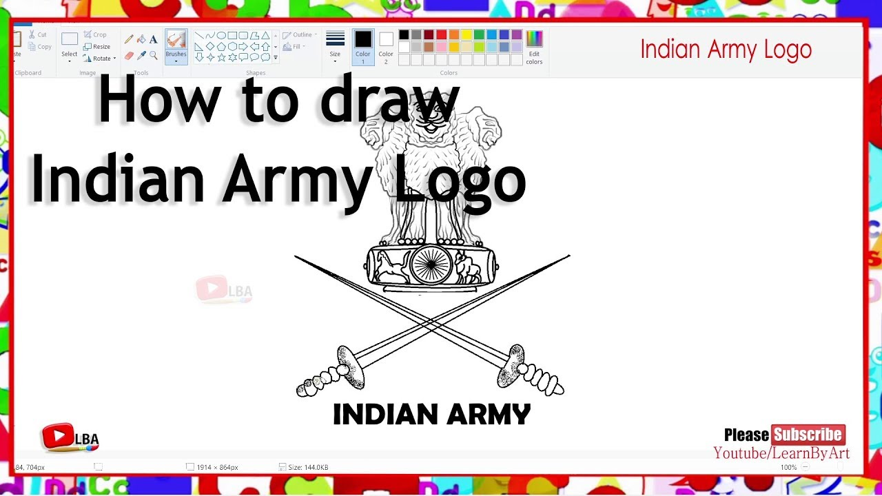 How to draw Indian Army Logo l LearnByArt