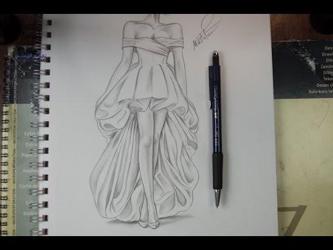 99b517e93 تعليم الرسم بالرصاص طريقة تصميم فستان مع الخطوات - YouTube