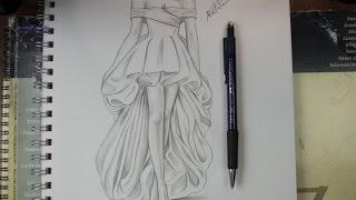 تعليم الرسم بالرصاص طريقة تصميم فستان مع الخطوات