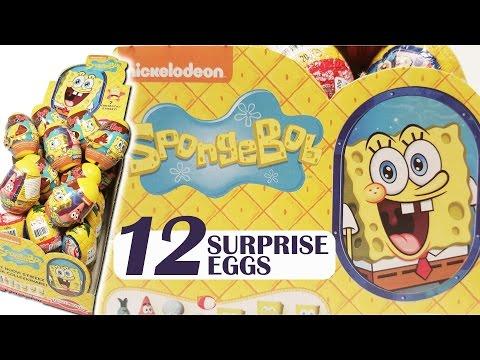 Spongebob Squarepants Surprise Eggs Opening Toys - 12 Kinder Surprise Egg Style Toys