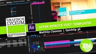 Quick-Tipp 36 | Wie erstellen von text-templates, die in After Effects
