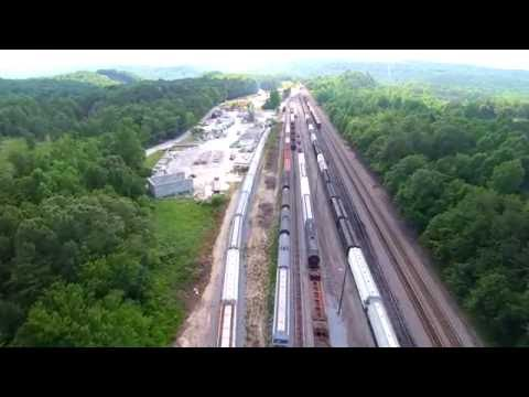 Freight train traffic jam- from above