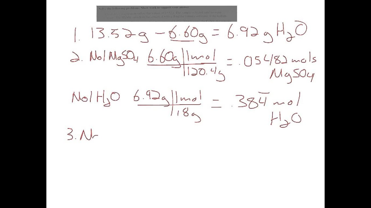 Determining The Formula Of A Hydrate