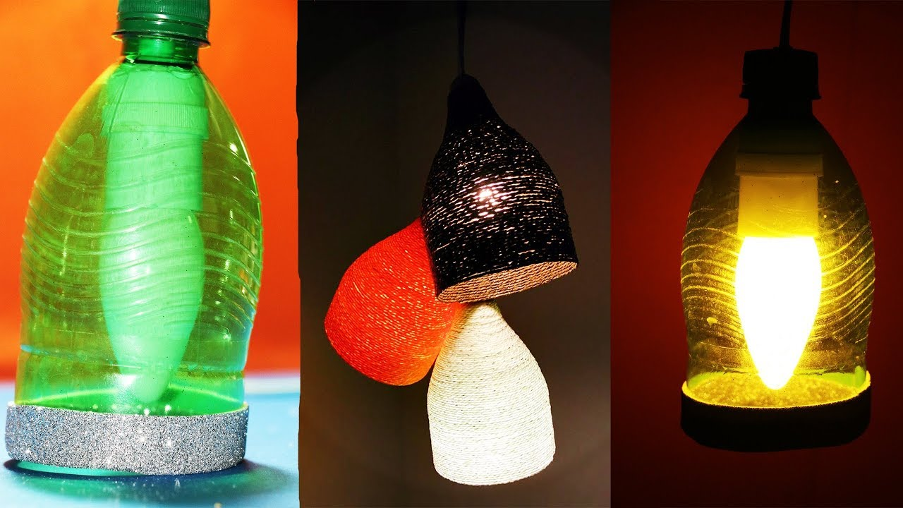 DIY: How to Make Hanging Lamps With Plastic Bottles. - YouTube for Diy Plastic Bottle Lamp  110zmd