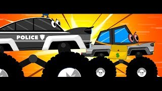 Police car chase thief truck from the Jail Escape Rescued by Little Red Truck Cartoon