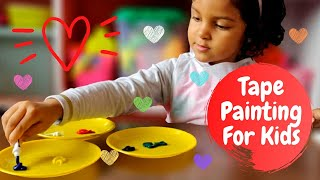 Easy Acrylic Painting for Kids | Easy Tape Painting for Kids | Easy Tape Art