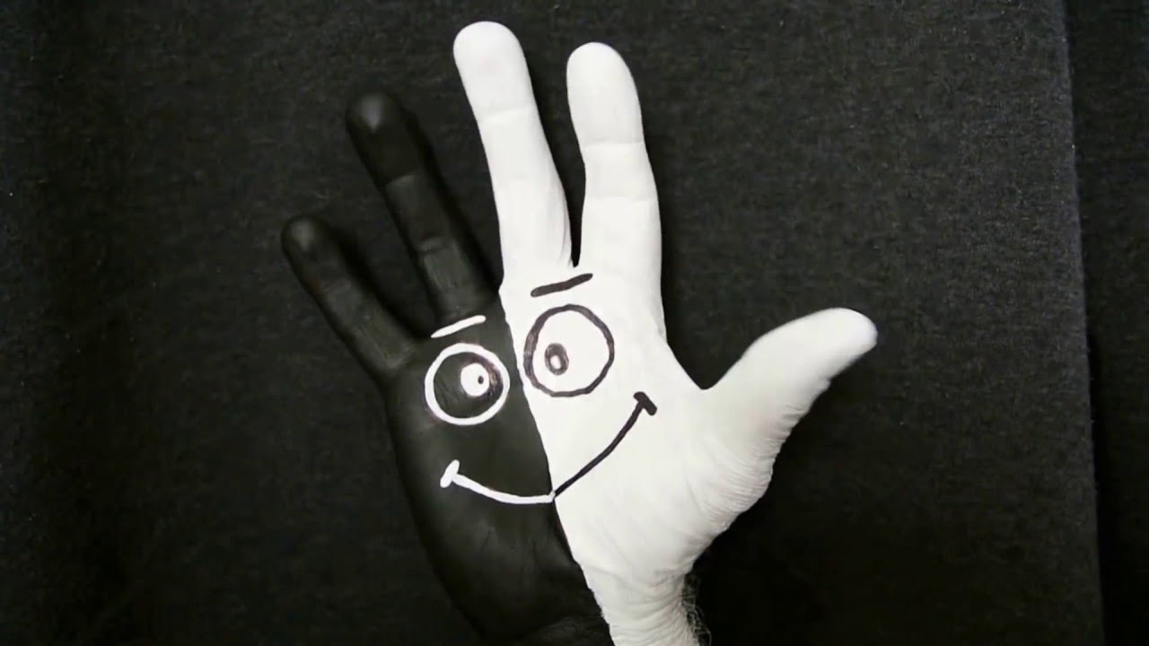 Black and White cartoon painted hand   Easy DIY art ...