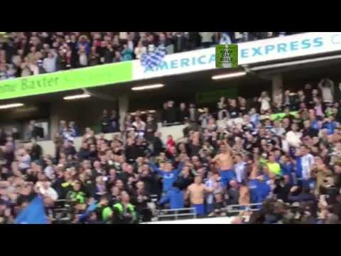 Brighton players and fans celebrating promotion