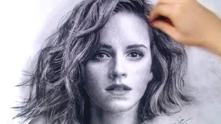 Emma Watson Portrait Drawing video - Beauty and the Beast Art Drawing Video