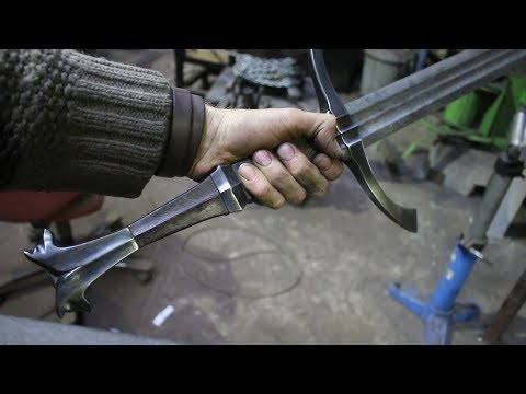 Forging a pattern welded Witcher 3 sword,  part 5, making the handle. thumbnail