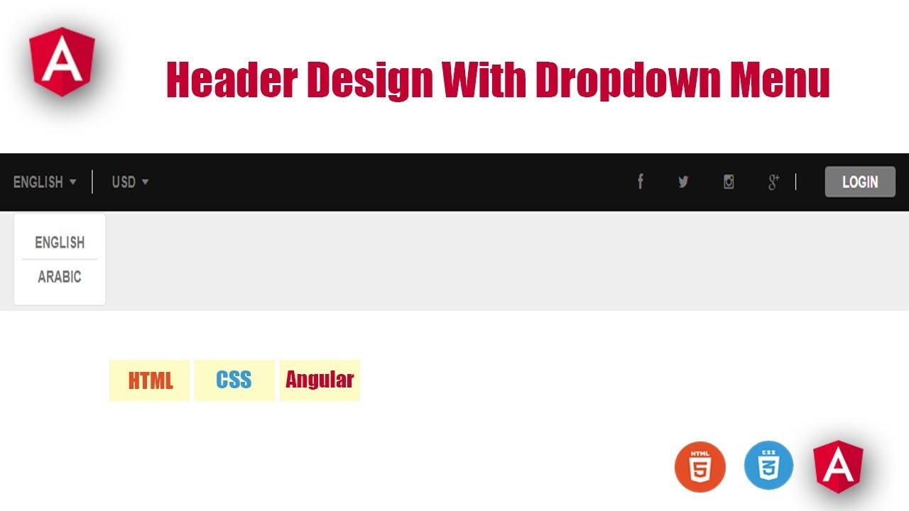 Header Design With Dropdown Menu In Angular    Web Design    Angular    Angular Tutorial    Css3
