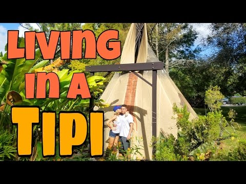 Living in a Tipi in South Florida! | Couple Lives in a Tiny House Teepee Tepee | Road Warrior Life