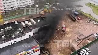 Горит строящийся детсад в Красноярске (видео 2)