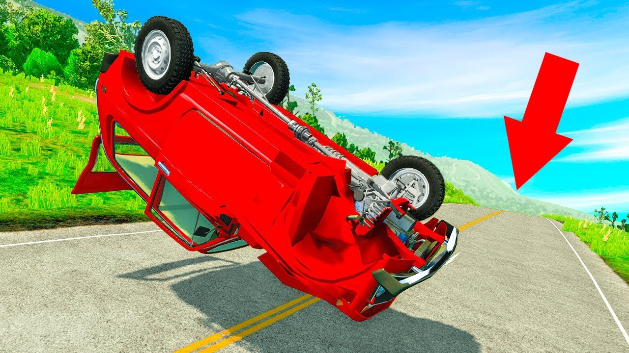 БЕЗУМНЫЕ ПАДЕНИЯ НА ДОРОГЕ СМЕРТИ! ВЫЖИТЬ ПОСЛЕ 1000 ПЕРЕВОРОТОВ В BeamNG.drive