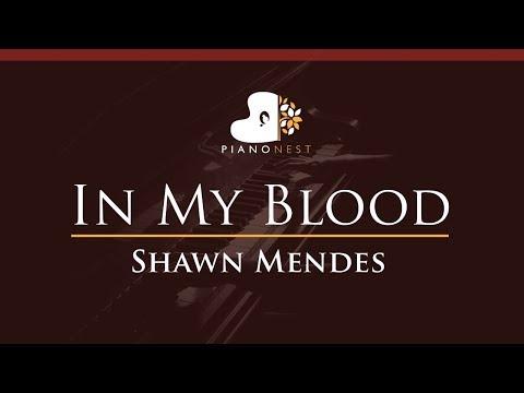 Lower Shawn Mendes - In My Blood - HIGHER Key (Piano Karaoke / Sing Along)