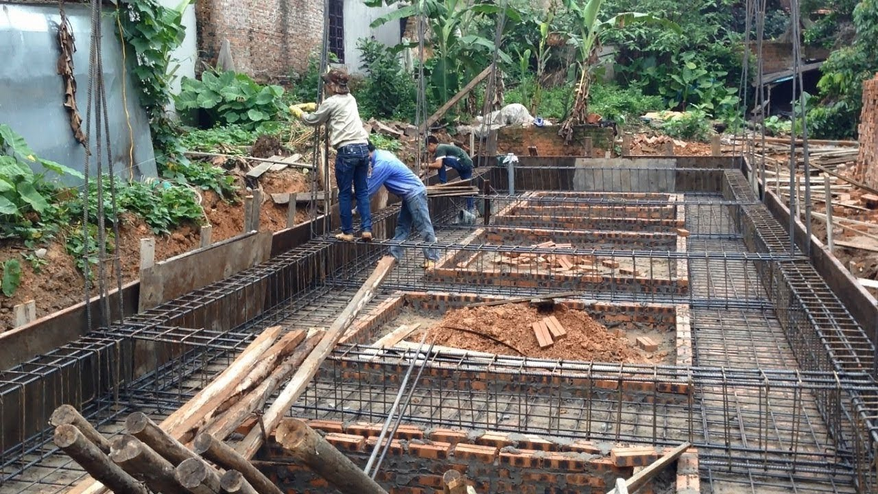 Installation steel bars and reinforcement for foundation for Construction of house step by step