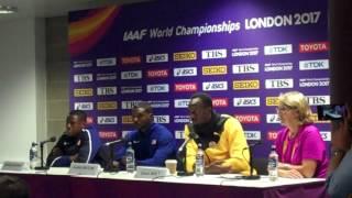 Part I Men's 100m Press Conference: Justin Gatlin, Usain Bolt, Christian Coleman 2017 World Champs thumbnail